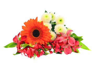 Colorful Flowers Bouquet Isolated on White Background