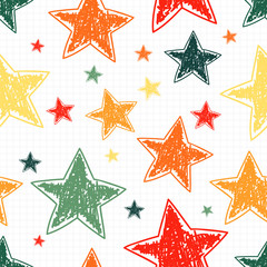 Hand drawn stars seamless pattern