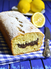 Lemon cake with poppy seed.
