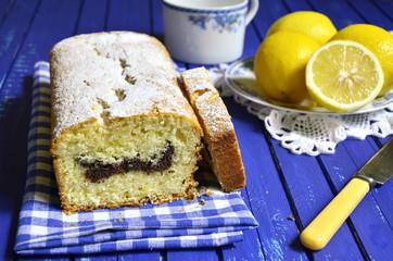 Lemon cake with poppy seed.