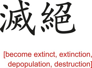 Chinese Sign for become extinct, extinction, depopulation