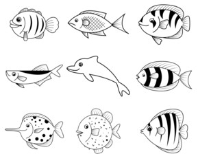 fish cartoon icons