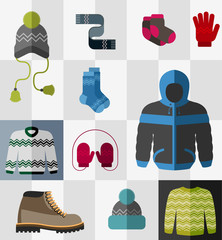Set of flat winter clothes and accessories