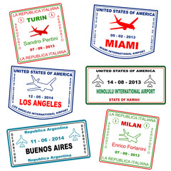 Passport travel grunge stamps