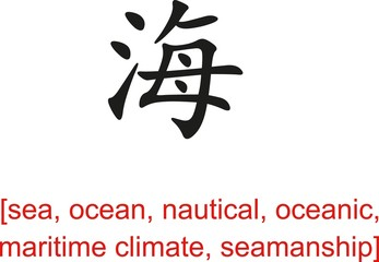 Chinese Sign for sea, ocean, nautical, oceanic,maritime climate