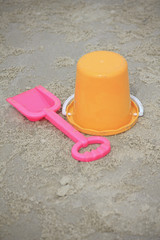 bucket, spade child's  toys on sand