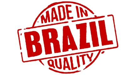 Red Rubber Stamp Made In Brazil