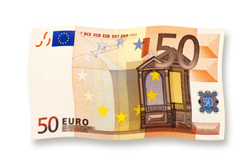 50 euro banknote curled isolated on white