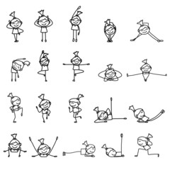 hand drawing cartoon character woman practicing yoga