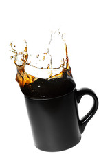 splashing coffee in a cup
