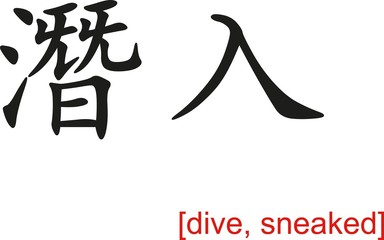 Chinese Sign for dive, sneaked