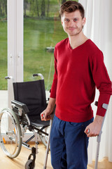Capable disabled man standing
