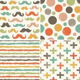 Fototapety seamless hipster patterns in retro colors