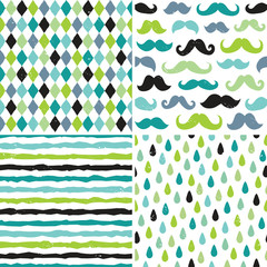 seamless hipster patterns in blues and greens