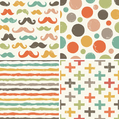 seamless hipster patterns in retro colors