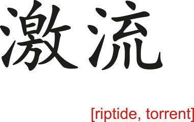 Chinese Sign for riptide, torrent