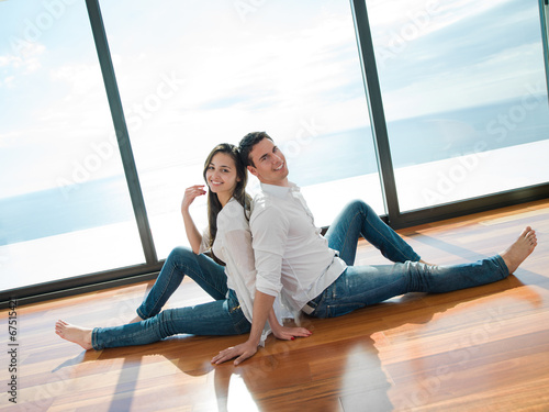 canvas print picture relaxed young couple at home