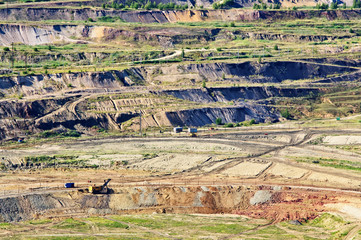 Bunk wall surface mine with minerals and brown coal