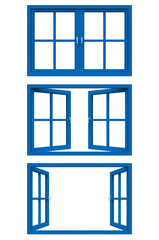 blue window frame