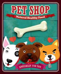 Vintage Pet shop poster design