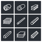 Metallurgy products icons collection poster