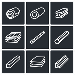 Metallurgy products icons collection