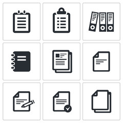 Notepad paper documents Icons set