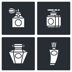 Retro perfume icons set