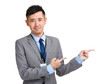 Businessman with finger indicate something