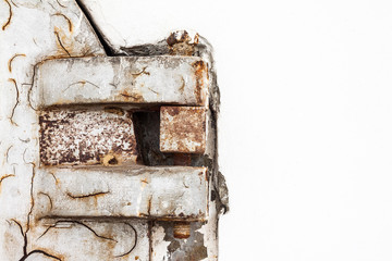 Rusty and old metal hinge