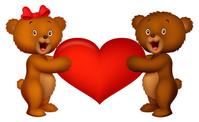 Couple baby bear holding red heart