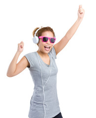 Excited woman with headphone