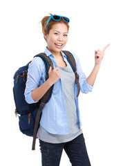 Woman with backpack and finger point up
