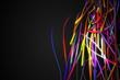 Half Rainbow Strands Line Glow Dark Background