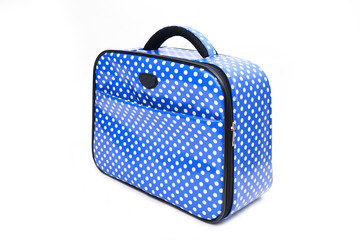 handle blue travel bag isolated