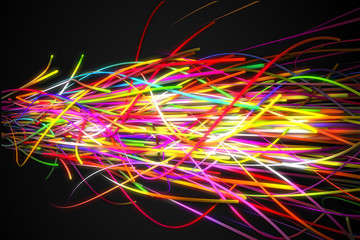 Heavy Rainbow Strands Line Glow Dark Background