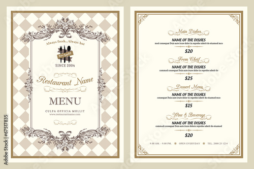 Vintage style restaurant menu design - 67517835