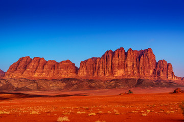 Jordanian Jebel Qatar Mountain in Wadi Rum, Jordan at twilight