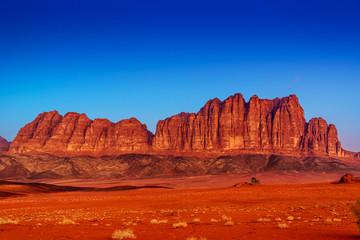 Jordanian Jebel Qatar Mountain in Wadi Rum, Jordan at twilight