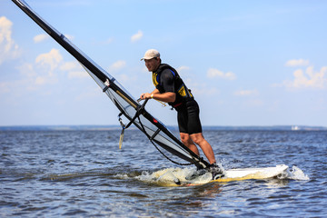 Side  view of windsurfer