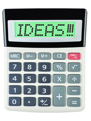 Calculator with IDEAS !!! on display isolated on white
