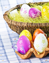 Easter eggs in wooden basket