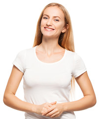 Woman at white background