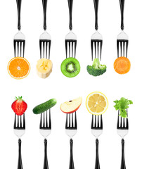 Fruits and vegetables on the forks