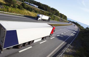 trucks in opposite directions on freeway