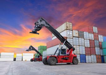 Crane lifting at container yard