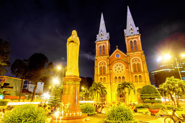 Saigon Notre-Dame Basilica in Ho Chi Minh City, Vietnam at night