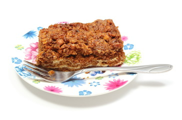 Delicious walnut cake on colorful plate. White background