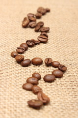Coffee grains on old fabric