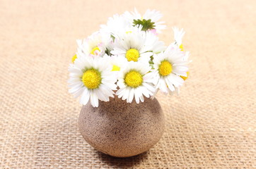 Bouquet of white daisies in ceramic vase on jute canvas